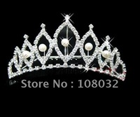 MIN.ORDER $15,brilliant crown with leaves as decorations,pearl inside