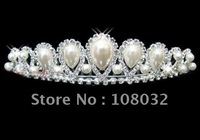 MIN.ORDER $15,brilliant crown with pearl drops as decoration,rhinestones around them