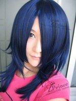 ~HitmanReborn!,Lar Mirch,Blue black 65cm straight side parting Cosplay Wig, cosplay drama hair. free shipping