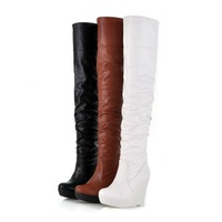 2012 New PU arrival fashion winter warm Wedges Platforms Over The Knee high Boots women Pupms shoes LLY-93