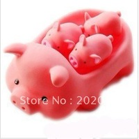 Trialsale 1set/lot baby Bath toy Rubber pigs PVC pig Bath Toys for children water games 4pcs/Set Free shipping