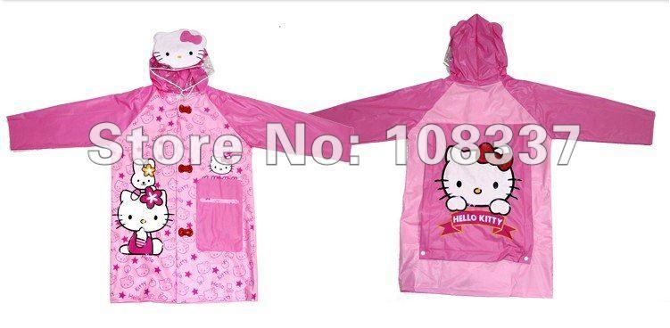 cartoon hello kitty children raincoat rainwear kid's poncho rain coat rainproof ree shipping(China (Mainland))