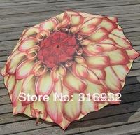 Free shipping 3 folding sunflower style flower folding Manual Umbrella, 1pc
