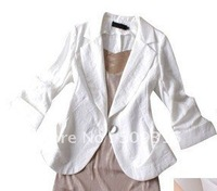 2014 spring gentlewomen exquisite slim linen blazer three quarter sleeve,linen garment,free shipping