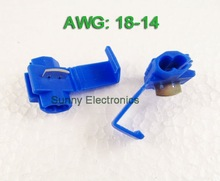 Free shipping 50PCS Blue Scotch Lock Quick Splice 18-14 AWG Wire Connector(China (Mainland))
