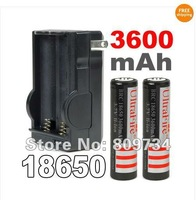 2x Li-ion 18650 Rechargeable 3.7v Torch Protected Battery 3600mAh +18650 Charger