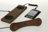 Retro MOSHI Phone Anti-radiation Telephone Handset Receiver with Wood casing Stand for iPhone, iPad, HTC etc