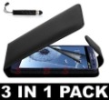 Black Flip Leather Case For Samsung Galaxy S3 I9300+Screen Guard+MINI STYLUS Pen,Free Shipping