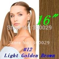 "16"" 18"" 20"" 22"" 26"" Full Head Remy Clip in Human hair extension  #12 Light Golden Brown 7PCS 70g/set"