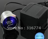 Freeshipping Engine Start Blue LED Button Push Switch Starter Kit Car 12V