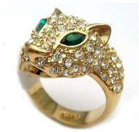 Free shipping.Austrian Crystal Green eyes a leopard 18K GP Yellow Gold Ring.Can mix build