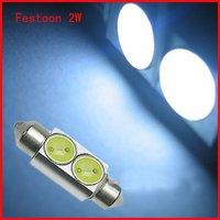 HK Free Shipping White 36mm Festoon car  2W LED Light Festoon Interior Reading Dome light Bulbs