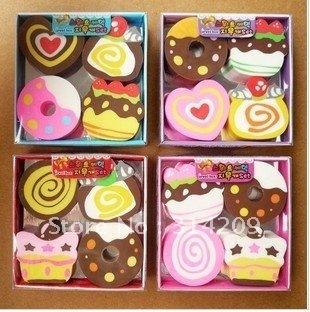 New Cute Cake Design Eraser, Lovely Eraser,  Kids Gift -Children Cute Rubber Eraser/Wooden Pencil Earser (4pcs/pack), 24pcs/lot