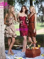 2012 New Design Off Shoulder Short Ruched Burgundy Bridesmaid Dress&Gown Collection