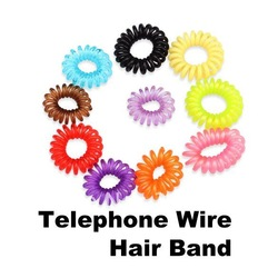 Colorful Telephone Wire Cord Hair Band Rings x 10 pcs(China (Mainland))