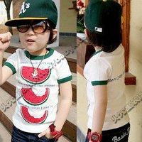 Specials 2013 summer Korean version of the new cute watermelon paragraph Boys Girls Baby T-shirt tx - 0 319