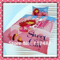 4pcs Bedding Set 100% Cotton Strawberry Girl Printing Bedding Set Kid Children's Free Shipping