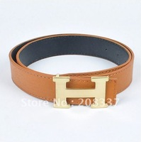Highest-quality Leather Belts for men/women Leather Belt fashion Buckle Belt 2 colors Free shipping 2PC/LOT