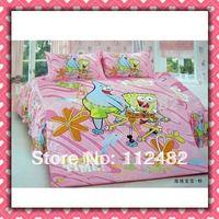 4pcs Bedding Set 100% Cotton Spongebob Pink Printing Bedding Set Kid Children's Free Shipping