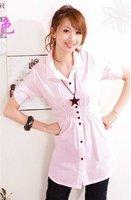 Hot sale,New women fashion plus long casual slim shirts,women Business Dress shirts Top Blouse free shipping,Pink,Green,White
