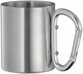 Quality fashion new stainless steel double wall isolating travel mug/cup w/ Aluminium carabiner hook handle,outdoor&camp life(China (Mainland))