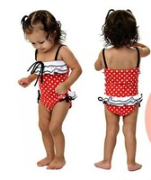 baby girl swimsuits cute pink ruffles black bow one piece with caps Swimwear  chirdren kids pool beach wear