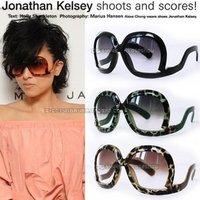 2012 Summer new fashion women Leopard sunglasses Big Frame Tripod upside down glasses (9colors),free shipping 10pcs/lot
