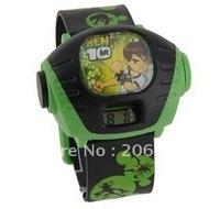 Cartoon Ben 10 Alien Force Pattern Plastic Kid's Digital Projector Watch (Green) Children watch.free shipping