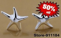Free shipping silver jewelry Silver Plated Heart stud earrings