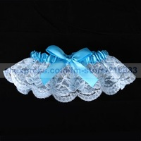 White Satin Wedding Garter with Blue Ribbons for Special Wedding Party Stuff Accessory Supplies Free Shipping New Arrival