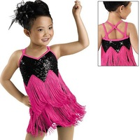 Free ship! Hot sell glitter kid Latin dance dress with tassel 1~15T fashion child perform skirt cheap girl dancewear/costume