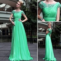 Free shipping DorisQueen new fashion green elegant a line long formal evening dresses party gowns prom dress for women 30551
