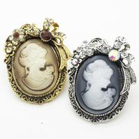 Victorian Style Silver Rhinestone Flower Lady Cameo Brooch Pins