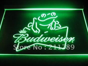 W0404  Budweiser Frog Beer Bar Pub Neon Light Signs