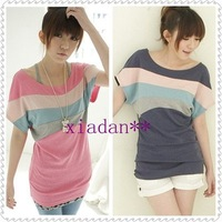NEW Women Korean Fashion Stripe Casual Loose Tops T-Shirt TSHIRT TOP