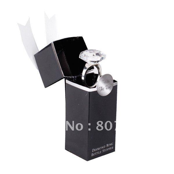 Crystal Ring Red Wine Bottle Stopper Wedding Favors