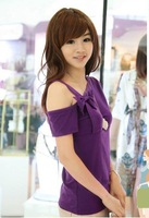 free shipping+wholease 2012 women's short-sleeve bow one shoulder strapless short-sleeve T-shirt women clothes