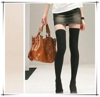 2012 summer  freeshipping  SEXY BLACK KNIT THIGH KNEE HIGH SOCK free shipping