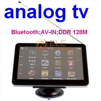 7 inch Car GPS Navigation + Analog TV + Bluetooth + AV-IN + FM + 4GB TF Card