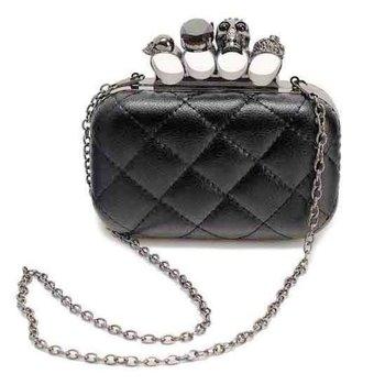 Hot!Vintage skull finger ring evening bags,high quality diamond plaid PU leather clutch bags,beyond fashion punk ladies handbags
