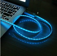 Newest Cold light cable for Iphone4/4s flashing cable for ipad 3 / 2 with micro usb connector LED line data by free shipping