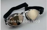 Защитная одежда In stock 2013 new Motorcycle Scooter Steampunk Cruiser Helmet Goggle Eyewear Silver Lens T01H