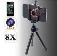 8x Zoom Telescope Camera Lens Kit + Tripod + Case For Apple iPhone 4 4S 4GS