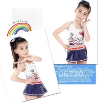 (10Pcs/Lot)Free Shipping Wholesale 2012 New High Quality Children's/Kids Swimsuit,Cute Girl Skirt Bikini Set Swimwear,4-12year
