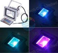 Free shipping 10W RGB LED Flood Light remote control IP65 Waterproof 85-265V outdoor Wash light aluminium LED projector light