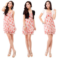 Chiffon spaghetti strap one-piece dress summer basic skirt piece set f105001 +FREE SHIPPING!