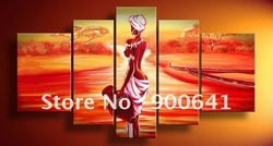 Handmade Canvas Oil Painting Modern Artworks High Quality African Sunrise Art Painting FZ010(China (Mainland))