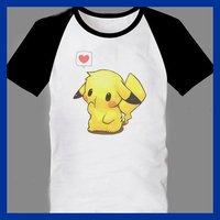 2013 Fashion Pokemon Pikachu T-Shirts For Men New Popular O-Neck CARTOON Tees White Colors 5 SIZE Free Shipping wholesale