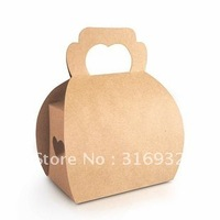 E1 New! Cute Small brown heart shape cake/ biscuits boxes,  for Party, 30pcs/lot