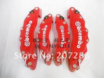 high quality free shipping Latest 3D ATV UTV ABS Brembo Look Brake Caliper Cover Kit Front Rear 4pcs red